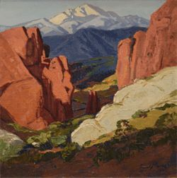 &quot;Pikes Peak,&quot; by Frank Vavra, oil on canvas.