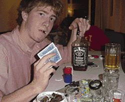 Crazy games: At CU, Michael Lanahan (above) was a  high-stakes player on the party scene.