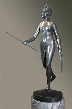 """Diana the Huntress,"" by Jean-Antoine Houdon, bronze."