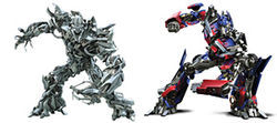 Megatron and Optimus Prime wreak havoc in Transformers.