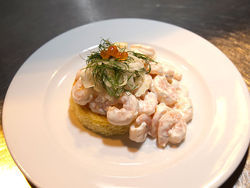 Trillium&#039;s toast Skagen, a classic Swedish starter, piles on the shrimp.