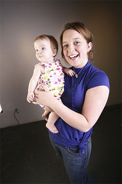 Emily Jarvis with her souvenir of Monarch: ten-month-old Lily.