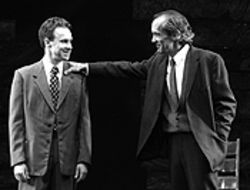 Douglas Harmsen (left), as Werner Heisenberg, and  John Hutton, as Niels Bohr, in Copenhagen.
