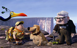 The characters Kevin, Russell, Dug and Carl Fredricksen in Up.