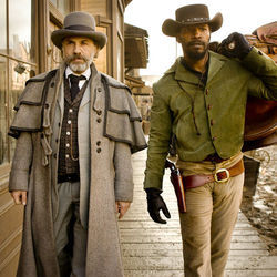 Christoph Waltz as Schultz and Jamie Foxx as Django in Quentin Tarantino&#039;s upcoming DJANGO UNCHAINED.