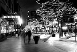 Under cover of the night: The 16th Street Mall.