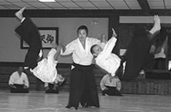 Sensei and sensibility: Gaku Homma throws two  students at once.