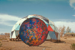"""Ultimate Painting"" in front of Drop City's Theater Dome, photo by Richard Kallweit. Slide show: View images from West of Center"