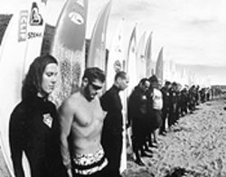 Surf's down: Wave-riders honor one of their fallen  fellow fanatics in Riding Giants.