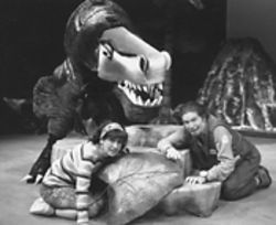 Debbie Schwartz, Bill Berry (as Rex) and James Burns in The Dinosaur Play.
