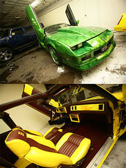 Vett Capone customized a Camaro with Lamborghini doors and an alligator-skin interior (above), and designed the interior of a Monte Carlo to match the outside.