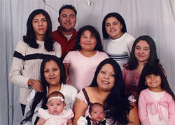 Angie Zapata (upper left), her brother, sisters, nieces and nephew took this family portrait for Angie's mother.