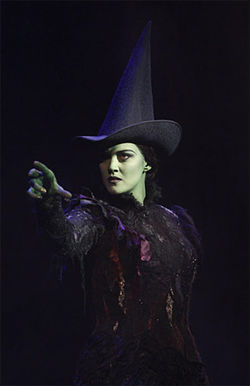Which witch is which: Victoria Matlock as Elphaba in Wicked. 