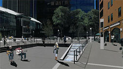 A conceptual drawing of the new Writer Square.