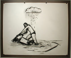 """Deluge,"" by William Stockman, charcoal on paper."