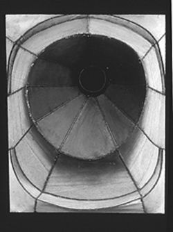 """Untitled,"" by Lee Bontecou, welded metal and canvas."