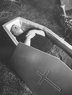 I think that I shall never see a poet as dead as he pretends to be: Barry McDonald in his casket.
