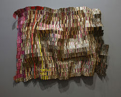 &quot;Zebra Crossing III,&quot; by El Anatsui, repurposed bottle caps and wire.